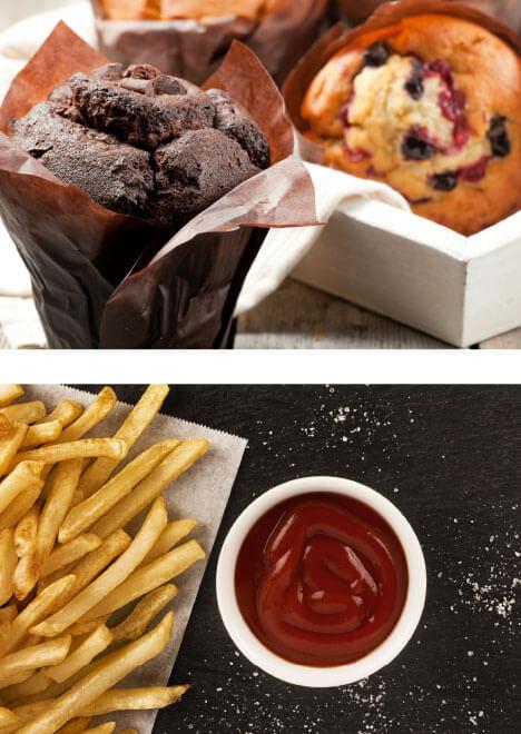Schokomuffins und Johannisbeermuffins sowie Pommes mit Ketchup sind ein Teil der Angebots des Bistro Suesel Seeparx