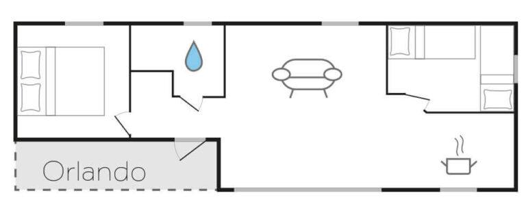 Chalet Grundriss Orlando mit Schlafzimmer, rechts davon das Bad, rechts davon Wohnzimmer mit offener Küche, darüber rechts ein zweites Schlafzimmer