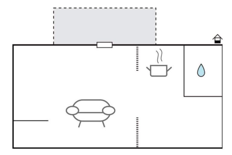 Grundriss SeeLodge besteht aus einem Raum mit Kochnische, Schlafnischen und einem abgetrennten WC